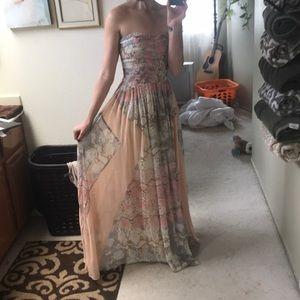 Flowy formal spring strapless prom or wedding